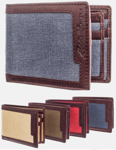 Eddoe-Bauer-Bi-Fold-Leather-Canvas-Wallet