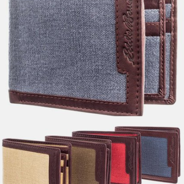 Eddoe-Bauer-Bi-Fold-Leather-Canvas-Wallet